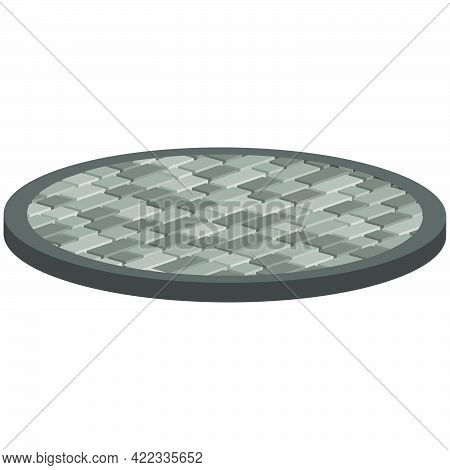 Layout Example Of Paving Slabs In The Form Of A Circle Isolated On White Background.vector Isometric