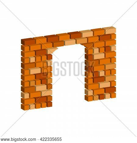 Arch In A Brick Wall Isolated On White Background.vector Isometric And 3d View.