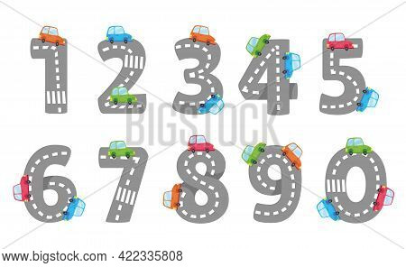 Cartoon Numbers From 1 To 9 On A White Background - Vector Illustration. Children S Road And Colored
