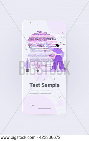 Dna Test Infographic Big Genomic Data With Woman Face Genome Sequence Map Vertical