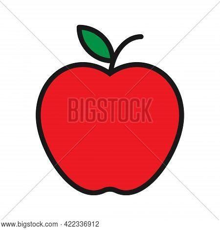 Apple Shape Icon. Fruit Silhouette Symbol Logo. Vector Illustration Image. Isolated On White Backgro