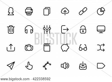 icons set daily activity equipment, icon pack isolated on white background, Round icon pack. home icon, location pin icon, man icon, gear icon, lock icon, search icon, sound icon, video icon, chat icon, mail icon, globe icon, phone icon. icon set isolated