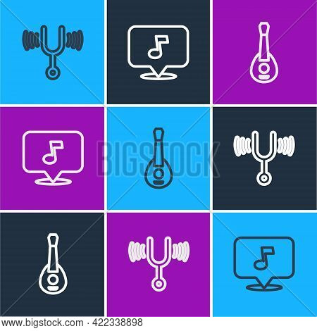 Set Line Musical Tuning Fork, Guitar And Note, Tone Icon. Vector