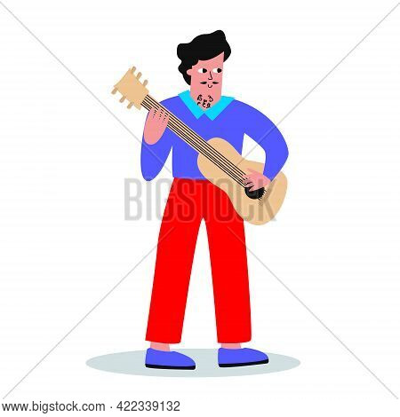 A Nice Young Man With A Guitar. Spanish Guitarist, A Man With A Mustache. Vector Character In A Flat