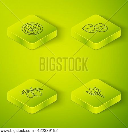 Set Isometric Line Comedy And Tragedy Masks, Olives Branch, Neptune Trident And Greek Shield Icon. V