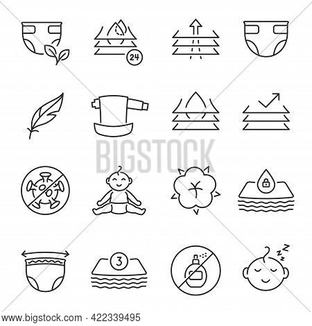 Collection Baby Diaper Icon Vector Illustration. Set Of Toddler Hygienic Clothes And Equipment