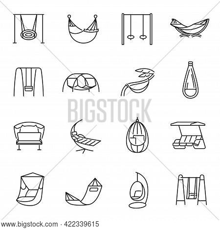 Collection Swing And Hammock Icon Set Vector Illustration. Set Of Textile For Relaxation Or Sleep