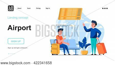 Airport Web Concept. Travelling Passengers With Luggage Wait In Waiting Room Before Boarding Plane.