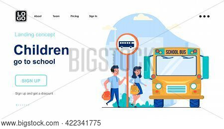 Children Go To School Web Concept. Pupils Boy And Girl Rush To School Bus. Students Go To Lessons. T