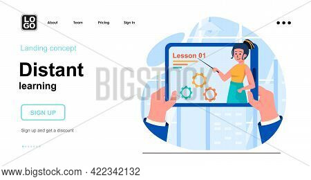 Distant Learning Web Concept. E-learning And Online Education, Watching Training Videos Lessons. Tem