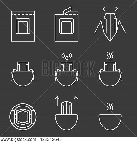 Drip Coffee Bag For Easy Brewing In A Cup. Set Of Vector Icons, White Isolated Illustration On A Bla