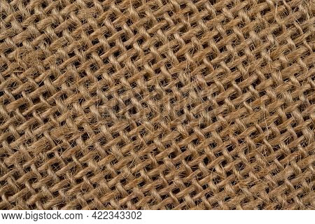 Sackcloth Brown Textured Background, Burlap Fiber Background, Top View For Design, With Visible Text