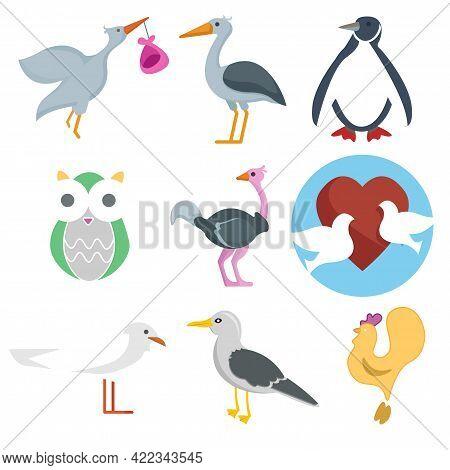 Bird Vector Clip Art Set With Penguin, Owl, Ostrich, Stork, Cock And Pigeons. Bird Vector Clip Art S