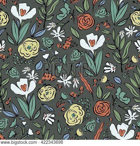 Vector Pen Drawing Outline Flower Doodle Illustration Motif Seamless Repeat Pattern Botanical Patter