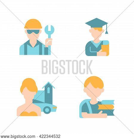 People Avatars Vector Flat Color Icon Set. Blue Collar Worker. Male Student. Upper Class Woman. Scho