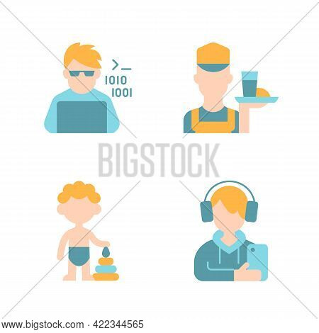 Different Ages Of Man Vector Flat Color Icon Set. Programmer, Computer Expert. Working Poor. Toddler
