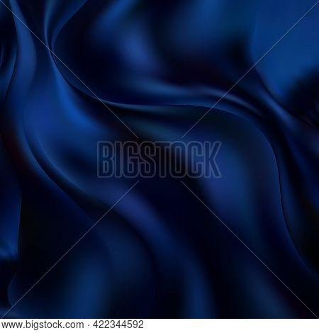 Blue Liquid Background. Silk Fabric. Design Element. Eps 10