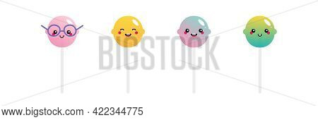Set, Collection Of Cute And Smiling Cartoon Style Lollipops, Sugar Candy On Stick Characters For Foo