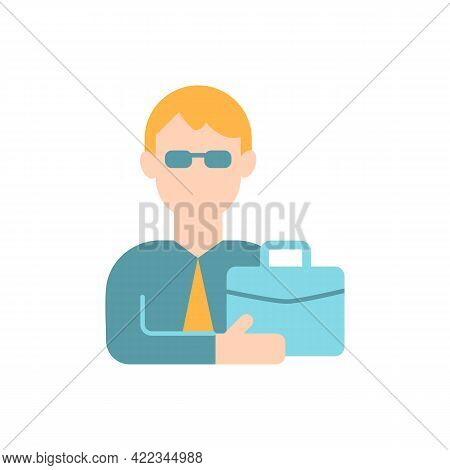 Male Adult Vector Flat Color Icon. Middle-aged Man. Businessman, Professional Expert. Man With Work,