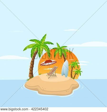 Tropical Island In Ocean With Palm Trees And Sunbed With Surfboard. Sandy Beach By Sea. Rest At Reso