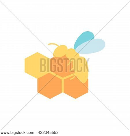 Honey Bee And Combs Vector Flat Color Icon. Bio Product Ingredient, Natural And Organic Food. Wasp W