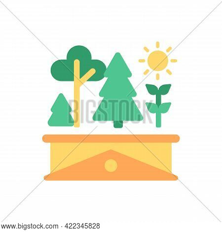 Roof Garden Vector Flat Color Icon. Rooftop Greenery. Modern Building Terrace With Trees. Ecology An