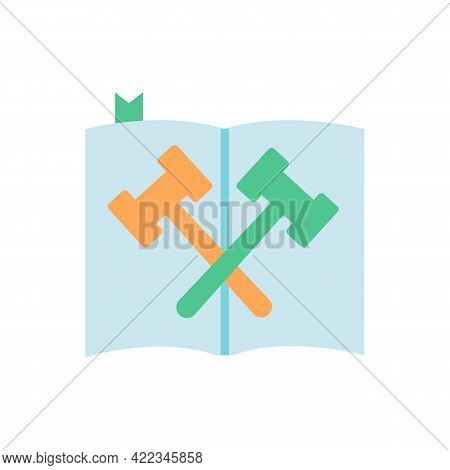 Law And Legislation Vector Flat Color Icon. Legal Book With Gavels. Study For Lawyer Professional. J