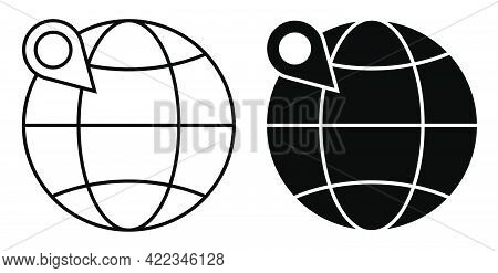 Globe With Checkpoint Mark. Navigation On Map Using Gps System. Simple Black And White Vector