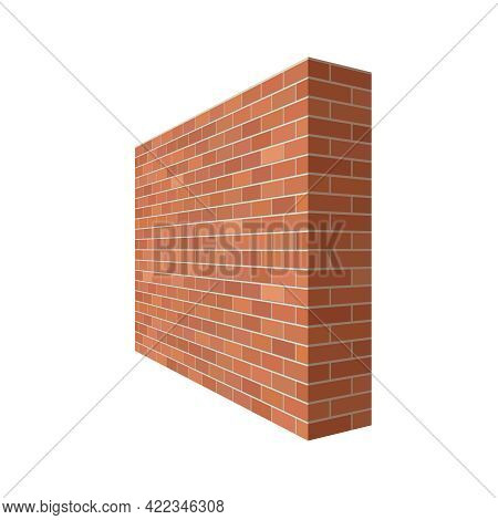 Brick Wall In The Perspective. Brick Wall 3d Vector  Illustration Isolated On White Background
