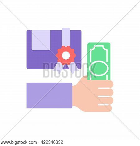 College Cost Vector Flat Color Icon. University Scholarship. Education And Studying. Skill Developme