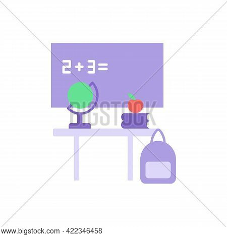 Primary School Vector Flat Color Icon. Preschool Classroom With Chalkboard And Teachers Desk. Educat