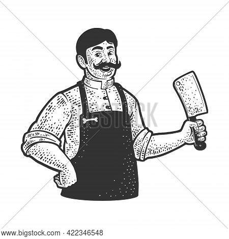 Butcher With Cleaver Knife Line Art Sketch Engraving Vector Illustration. T-shirt Apparel Print Desi