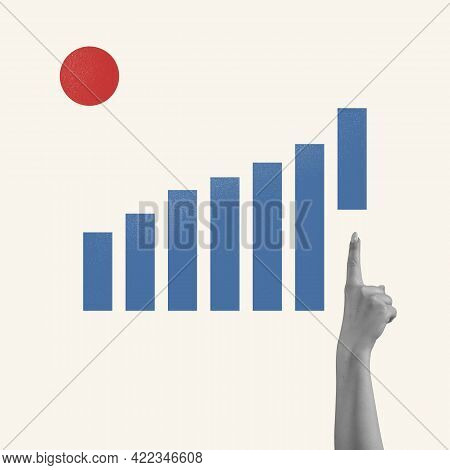 Art Collage, Minimalism. Concept Of Business, Finance, Economy, Professional Occupation, Business, A