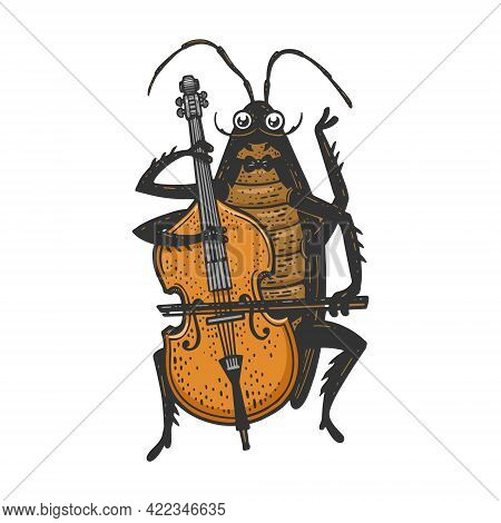 Cartoon Cockroach Orchestra Playing Double Bass Color Line Art Sketch Engraving Vector Illustration.