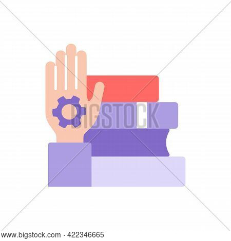 Skill Development Through Learning Vector Flat Color Icon. Education And Studying With Books. Skill