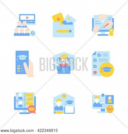 Remote Classes Vector Flat Color Icon Set. Elearning Course. Online Education. College Lessons Remot