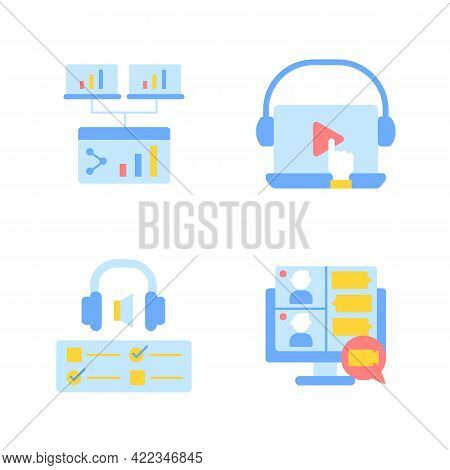 Remote Education Vector Flat Color Icon Set. Sharing Information Online. Elearning Course. Studying