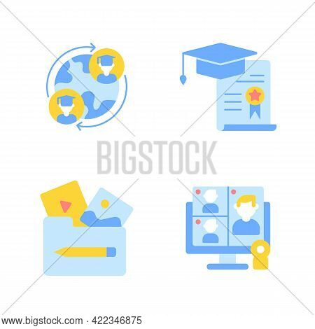 Elearning With Online Courses Vector Flat Color Icon Set. Online Education Globally, International A