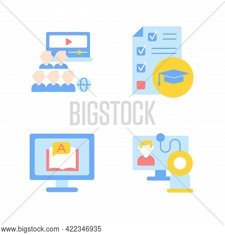 Online Education Vector Flat Color Icon Set. Skill Development With Elearning Course. College Course