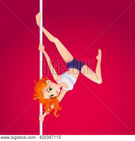 Cute Girl Performing Pole Dance. Young, Slim And Beautiful Redhead Woman Takes On A Pylon. Pole Acro