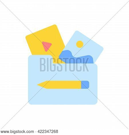 Multimedia Vector Flat Color Icon. Different Media Files In Mobile Folder. Elearning Course Library