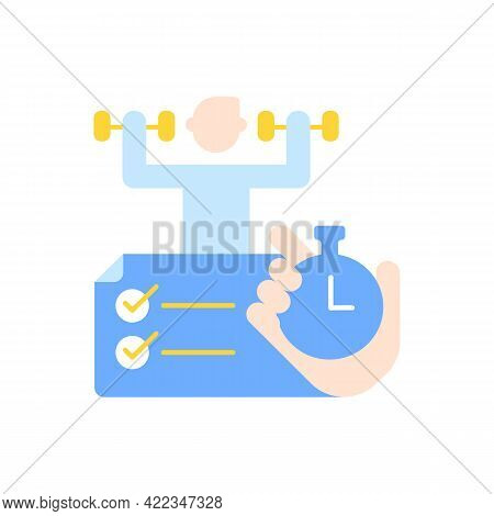 Improving Productivity With Time Management Vector Flat Color Icon. Skill Development With Elearning