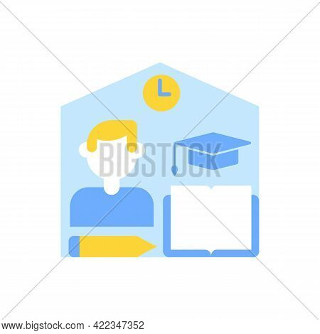Learning From Home Vector Flat Color Icon. Skill Development With Elearning Course. Online Education