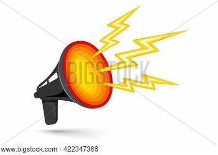 Vector Icon Of Vintage Megaphone For Breaking News Or Sale. Vector Retro Black Megaphone With Hot Ho