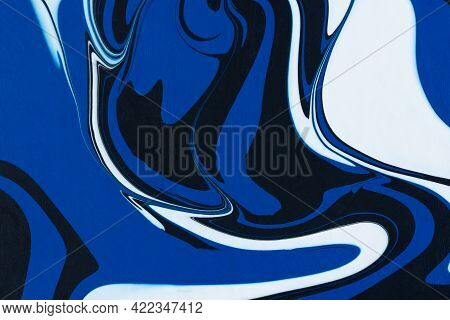 Fluid Art Texture. Abstract Art Acrylic Background Blue, White Black. Dynamic Lines, Graphic Design