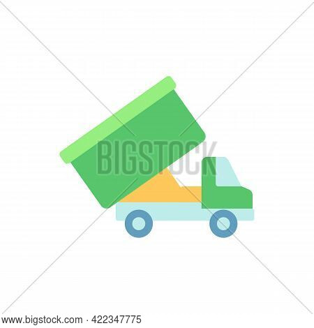 Roll-off Truck Vector Flat Color Icon. Open Top Dumpster. Organizational Clear Outs. Convenient Disp