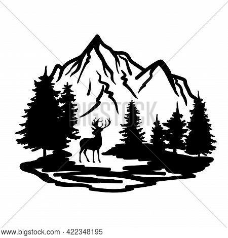 Deer With Wild Nature Landscape Hand Drawn Vector Illustration. The Silhouette Of Pines And Mountain