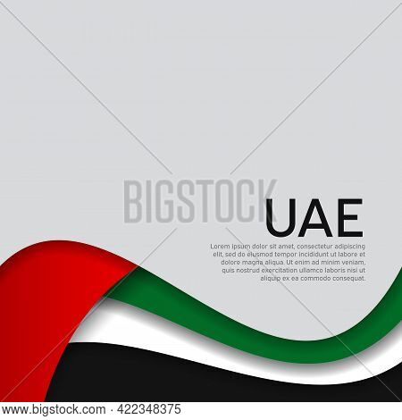 Abstract Waving Flag Of United Arab Emirates. Uae Business Booklet, Flyer. Paper Cut Style. Creative