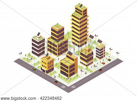 Eco City Isometric Color Vector Illustration. Multi Storey Buildings With Solar Grids Infographic. S