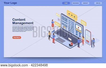 Content Management Landing Page Vector Template. Digital Inbound Marketing Website Interface Idea Wi
